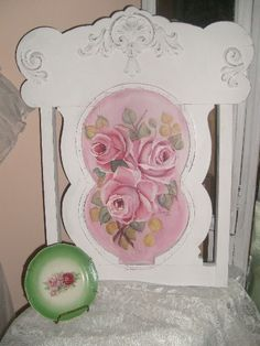 """Reserved for Kate ""          roses original-shabby,chic,cottage,roses,hp roses,hand painted,decor,pink,art,elegant,gift,antique,origina,furnishi Furniture Decor, Painted Furniture, Furniture Refinishing, Rose Cottage, Shabby Chic Cottage, French Decor, French Chic, French Country, Painted Roses"