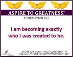 Hello Friend! If you are inspired, encouraged or strengthened by this affirmation, please LIKE, SHARE and inspire others to join our ASPIRE TO GREATNESS community at https://www.facebook.com/ASPIRETOGREATNESS. Come and be inspired to ASPIRE! Find out the ways our team will assit you in finding the best solution to begin a lifestyle.