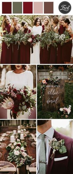 dark moody burgundy and greenery organic fall wedding ideas. Burgundy suits