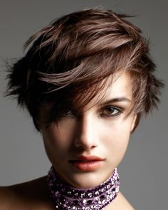 A short brown straight choppy spikey messy Layered hairstyle by Jean Louis David