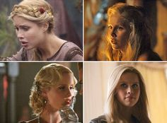 Rebekah (Claire Holt) from the Vampire Dairies hair through the years. Milkmaid braid, long and messy, 20s wave, and blow-out smooth.