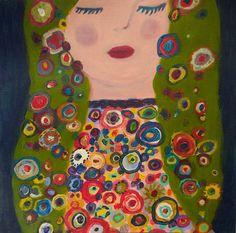 Beauté aux fleurs, endormie. Sleepy beauty with flowers-Original painting de la boutique ValerieBelmokhtarArt sur Etsy