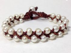 Small Freshwater Pearl and Leather Bracelet WaRuNe от AdiDesigns Ankle Bracelets, Crystal Bracelets, Jewelry Bracelets, Jewelery, Gold Necklaces, Layered Bracelets, Silver Bracelets, Silver Ring, Freshwater Pearl Necklaces