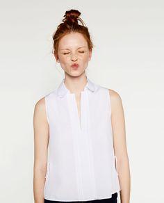 Imagine 2 din TOP DIN POPLIN CU FUNDE de pe Zara