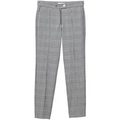 Prince of Wales Trousers (335 NOK) ❤ liked on Polyvore featuring pants, patterned trousers, metallic trousers, patterned pants, mango trousers and straight pants