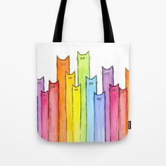 Cat Rainbow Watercolor Pattern Canvas Tote Bags by Olechka - x Diy Tote Bag, Cute Tote Bags, Reusable Tote Bags, Painted Canvas Bags, Canvas Tote Bags, Animal Bag, Cat Bag, Tote Pattern, Watercolor Pattern