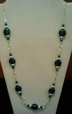 Handmade Beaded Necklace with Teal Silver