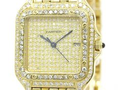 Polished #CARTIER Panthere Custom Diamond 18K Solid Gold Mens Watch (BF104375): Authenticity guaranteed, free shipping worldwide & 14 days return policy. Shop more #preloved brand items at #eLADY: http://global.elady.com