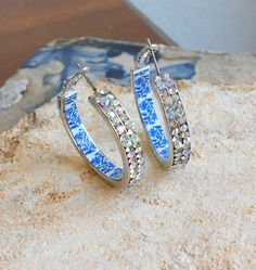 Portugal Antique Azulejo Tile Replica HOOP Earrings w by Atrio