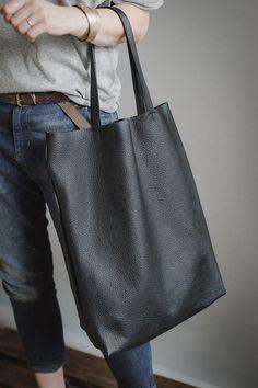 Black leather tote