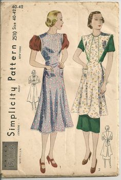 1930s Simplicity Antique Pattern 2510 Full Bib Apron Uncut Old Vtg Sewing Fabric | eBay