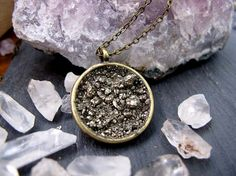 Pyrite a Fools Gold  Circle  Necklace by BrooklynCharm on Etsy, $24.00
