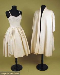 White Party Dress & Coat Set, 1950s, Augusta Auctions, May 2008 Vintage Fashion & Antique Textile Sale, Lot 617