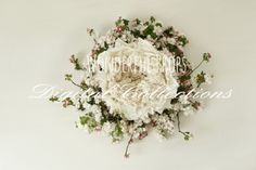 Wonderful Props - Wool and Flowers - Digital Backdrop - Floral Nest Prop for Newborn Photography