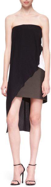 Narciso Rodriguez Strapless Crisscross Dress Blackwhitemulti in Black (MULTI) | Lyst