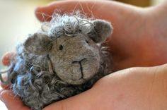 Needle Felted Sheep - Natural grey wool lamb - needle felted animals