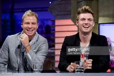 Brian Littrell and Nick Carter of the Backstreet Boys attend 'El Hormiguero' TV show at Vertice Studio on November 11 2013 in Madrid Spain