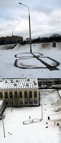 More proof that artists see the world in an entirely different way... Snow Art, Big Glasses, Hipster Glasses, Drawing Glasses, Snow Puns, 3d Street Art, Street Art Graffiti, Street Lamp, Graffiti Artwork