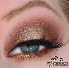 http://myeyeshadowconsultant.com: Romp (inner half of lid) Amber Lights (outer half of lid) Mythical LE (crease) – you could also use 'Cranberry' here Rich Life pigment LE...