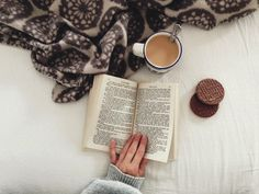coffee; book; cakes; warm bed