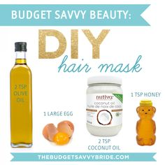 When you're a budget savvy bride, chances are you don't have money in the budget for spa treatments and pampering, but that doesn't mean you should hair repair DIY Hair Mask Coconut Oil Hair Treatment, Coconut Oil Hair Growth, Coconut Hair Mask, Coconut Oil For Hair, Hair Mask For Growth, Hair Growth Treatment, Diy Hair Oil Treatment, Hair Shine Treatment, Hair Conditioning Treatment