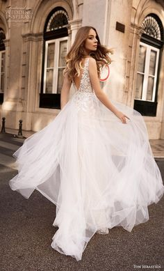 92e316ea7a tom sebastian 2019 bridal sleeveless deep plunging v neck heavily  embellished bodice tulle skirt romantic a