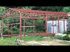 단양 솔고개마을 솔하우스 농가창고 형강골조 시공 - 건축다큐21 - YouTube House Canopy, Patio Blinds, Tent, Pergola, Arch, Shed, Outdoor Structures, Bridge, Container