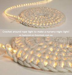Crochet around rope light to make a nursery night light!