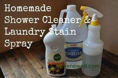 Vinegar and dish soap shower cleaner. Spray and scrub a couple of times a week while you are in the shower.
