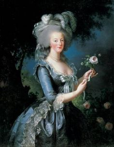 "portrait of Marie Antoinette, Queen of France. Titled ""Marie Antoinette a la rose"" it was painted in the rococo style in oils on canvas in 1783 by Marie-Elisabeth Louise Vigee-Le Brun, the Queen's favorite portrait painter."