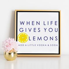 Life & Lemons Canvas | A sassy print that is the perfect piece for a bar cart.
