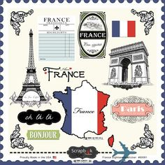 Scrapbook Customs France Sightseeing Stickers
