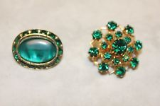 CORO signed PINS WITH GORGEOUS GREEN STONES-STUNNING!!!!!!!!!!!!!!!!!!!!!