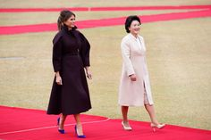 Melania Trump Photos - (L to R) U.S. First Lady Melania Trump and South Korean first lady Kim Jung-Sook walk during a welcoming ceremony held at the presidential Blue House on November 7, 2017 in Seoul, South Korea. Trump is in South Korea as a part of his Asian tour. - U.S. President Donald Trump Visits South Korea - Day 1