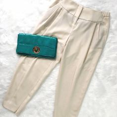 """Halston Heritage Cream Harem Pants These are GORGEOUS! Very well made, classic styling. Tapered ankles have invisible zippers, inseam 27"""", rise 11"""", back of waist has an elastic band as shown. No flaws! Halston Heritage Pants Ankle & Cropped"""