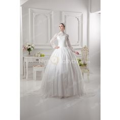 Ivory Satin Beading Long Sleeves Chape Train Ball Gown Wedding Dress $241.99