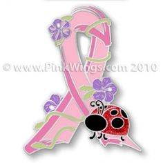 Insect Ladybug Pink Ribbon Pin