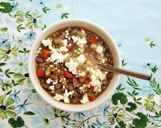 Potato lentil soup. Poppytalk.