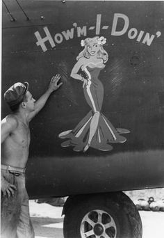 """Nose Art of the Southwest Pacific Area - """"How'm-I-Doin'"""" - B24D, 90th Bomb Group, 319th Squadron - Serial #42-41223 - PH00005460 Frederick German Collection"""