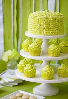 very green ribbon cake and cupcakes