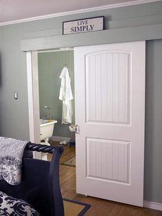 DIY Sliding Barn Door -- WAY EASY and can definitely be temporary ...