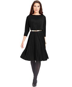 Alfani Dress, Three-Quarter-Sleeve Belted Pleated - Womens Dresses - Macy's