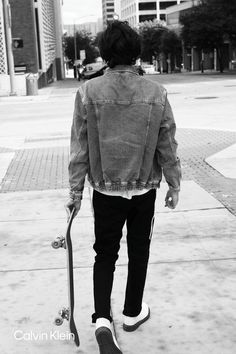 For anywhere and everywhere. Straight Fit Forever Black Jeans and Light Wash Denim Trucker Jacket. By Adam Moroz. #MYCALVINS