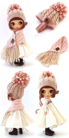 Winter outfit for Blythe – BuzzTMZ Pretty Dolls, Cute Dolls, Weighted Blanket Diy, Sewing Dolls, New Dolls, Clothes Crafts, Knitted Dolls, Doll Clothes Patterns, Amigurumi Doll