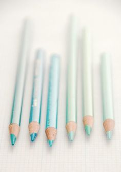 Pastel blues and green pencils    More pastel inspiration here: http://mylusciouslife.com/prettiness-luscious-pastel-colours/