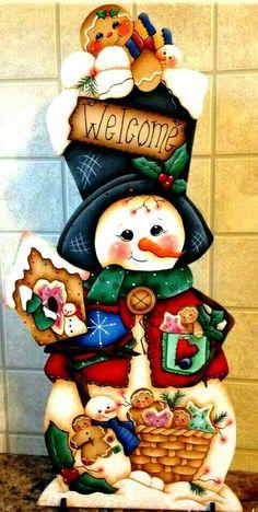 Christmas Yard Art, Beaded Christmas Ornaments, Christmas Wood, Outdoor Christmas Decorations, Christmas Projects, Decorative Painting Projects, Tole Painting Patterns, Pintura Country, Wood Snowman