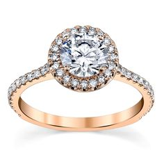 14K Rose Gold Halo Diamond Engagement Ring Setting 1/3 Cttw. From Suns And Roses Collection