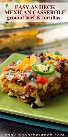 Easy Cheesy Mexican Casserole with Beef. Layered with corn tortillas, ground beef, canned tomatoes, canned black beans and cheese and you've got one great casserole bake. A perfect weeknight casserole recipe. Very kid family friendly. Corn Tortilla Casserole, Mexican Beef Casserole, Corn Tortilla Recipes, Beef Casserole Recipes, Recipes With Corn Tortillas, Taco Casserole With Tortillas, Tostada Recipes, Mexican Lasagna With Tortillas, Mexican Lasagna Recipes