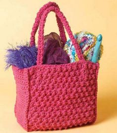 Little Textured Tote By Lion Brand - Free Crochet Pattern - See http://www.joann.com/static/project/0408/PC00068.pdf For PDF Pattern - (ravelry)* ༺✿ƬⱤღ  https://www.pinterest.com/teretegui/✿༻