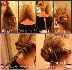 Good for when your having a bad hair day and you dont know what to do with your hair. or if you dont have time to do your hair :) My Hairstyle, Bun Hairstyles, Pretty Hairstyles, Wedding Hairstyles, Wedding Updo, Wedding Dress, Beautiful Buns, Gorgeous Hair, Twisted Hair